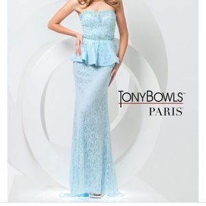Tony bowls light blue prom dress size 4.
